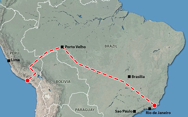 The Politics Of Chinas Amazonian Railway - Brazil large scale road map